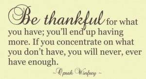 Fii recunoscator pentru ceea ce ai  si vei ajunge sa ai mai mult.  Daca te concentrezi pe ceea ce nu ai,  niciodata nu vei avea suficient.